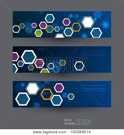Abstract banners set with image of science innovation concept. Circuit board and hexagons or polygon background. Hi tech digital technology. Abstract futuristic hexagon shape on dark blue color background