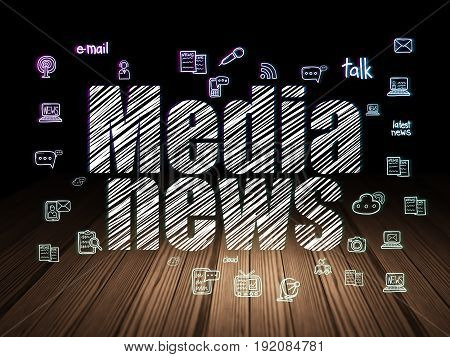 News concept: Glowing text Media News,  Hand Drawn News Icons in grunge dark room with Wooden Floor, black background