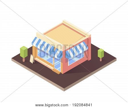 Isometric building isolated cafe or shop. Flat vector illustration.