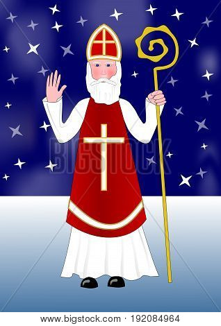 Saint Nicholas walks snowy night landscape under a starry sky eps10 vector illustration