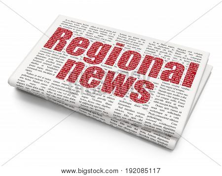 News concept: Pixelated red text Regional News on Newspaper background, 3D rendering