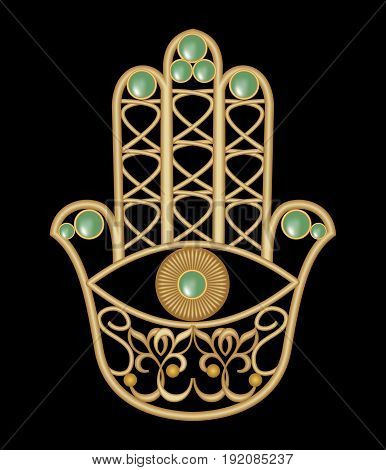 Golden Miriam hand with eye shape in filigree design with green emerald gem amulet of protection eps10 vector