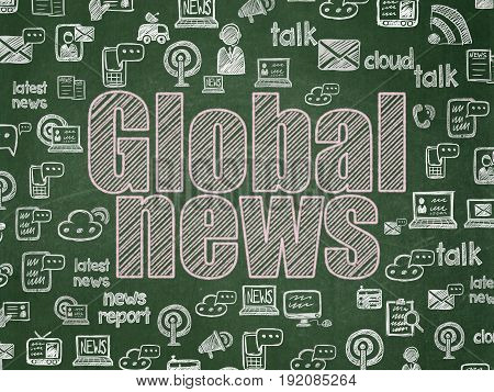 News concept: Chalk Pink text Global News on School board background with  Hand Drawn News Icons, School Board