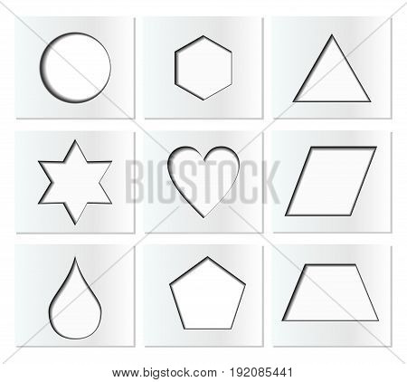 Template for simple geometric shapes with inner shadow - circle hexagon triangle star heart drop pentagon trapezoid rhomboid. Nine isolated paper cut blocks in EPS10 vector.
