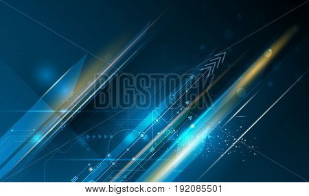 Vector illustration circuit board, Hi-tech digital technology and engineering, digital telecom technology concept. Abstract futuristic on light blue color background