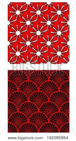 Two seamless vector tiles with abstract geometric pattern contrasting color combination of red white and black