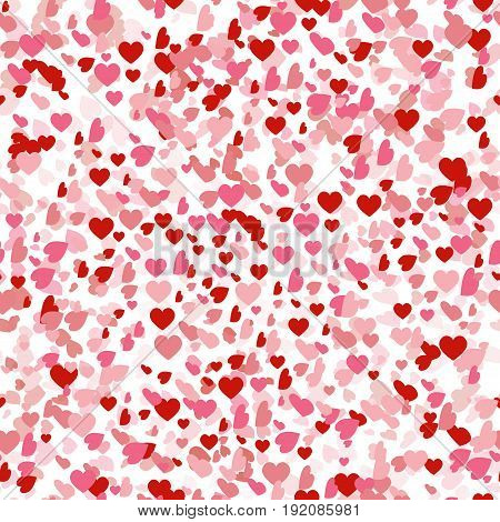 Heart confetti of Valentines petals falling seamless pattern background. Flower petal in shape of heart confetti for Women's Day.