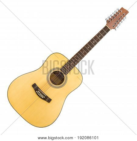 12 String Acoustic Guitar Isolated on a White Background