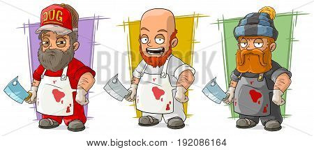 Cartoon bearded butcher in apron with big knife character vector set