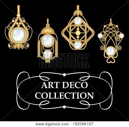 Collection of elegant gold earrings with pearls art deco. Symmetric classic design jewel for festive occasions.