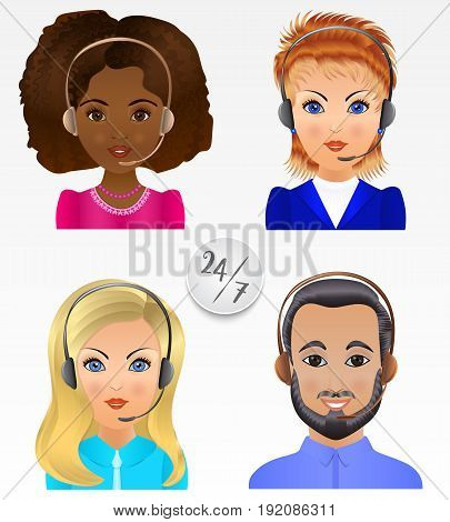 Set people avatars. Employees of call center support and help service.
