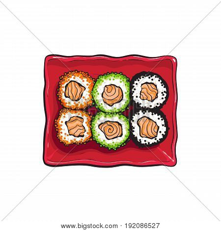 Plate of Japanese sushi set, top view hand drawing, sketch style vector illustration isolated on white background. Sushi serving plate, Asian, Chinese, Japanese cuisine
