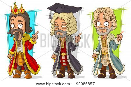 Cartoon medieval king judge and noble character vector set