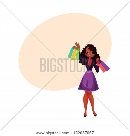 Happy black, African American girl, woman with shopping bags, sale concept, cartoon vector illustration with space for text. Black girl, woman with many shopping bags, happy shopping concept