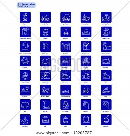 Linear city transportation icons collection with white transport and vehicles on blue squares isolated vector illustration