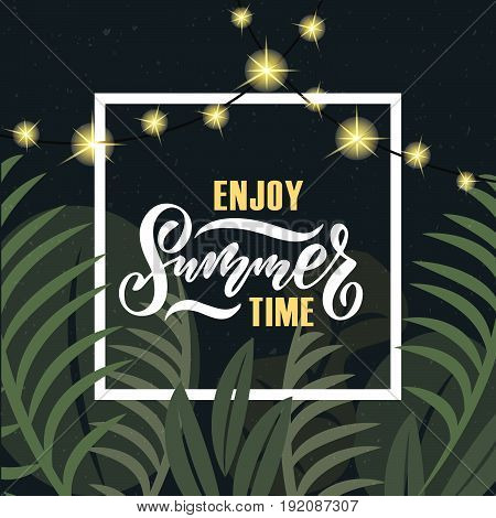 Vector Illustration Of Summer Party Poster With Palm Trees And Jungles. Summer Party Badge/tag/icon