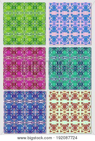 Collection of abstract patterns in various color combinations.Seamless vector textile swatch.