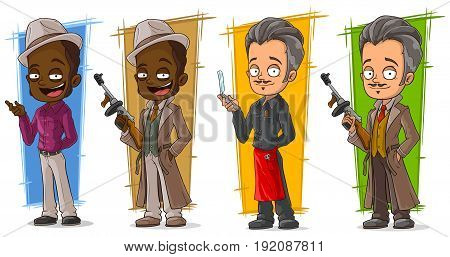 Cartoon criminals gangsters and police detective character vector set