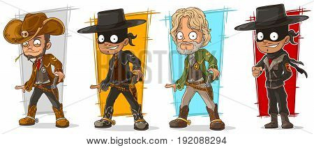 Cartoon sheriff cowboy and bandit with pistol character vector set