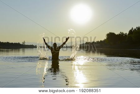 time of sunrise in cold water with energetic movements