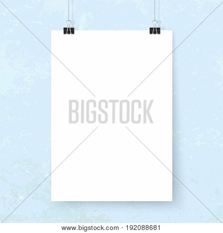 Posters on binder clips on blue grunge wall. Paper mockups set. Modern trendy framing for your design. Vector template for picture painting drawing quotes poster or photo.