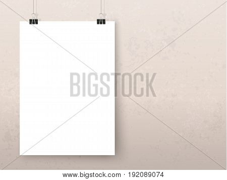 Posters on binder clips on grunge wall. Paper mockups set. Modern trendy framing for your design. Vector template for picture painting drawing quotes poster or photo.