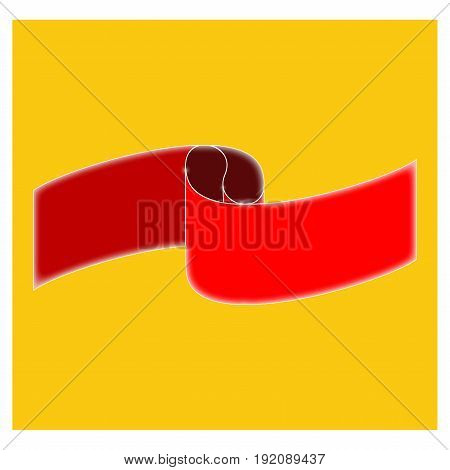 Banner red on yellow square. Emblem modern symbol of business. Blank sticker labeling. Elegant form of the logo for sale. Colorful template for badge tag wrapping. Design element Vector illustration