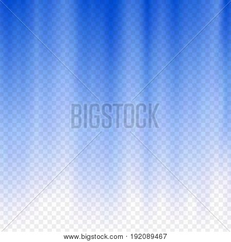 Blue flare. Nautical blue polar rays. Glaring effect with transparency. Abstract glowing light background. Graphic element for documents, templates, posters, flyers. Vector illustration