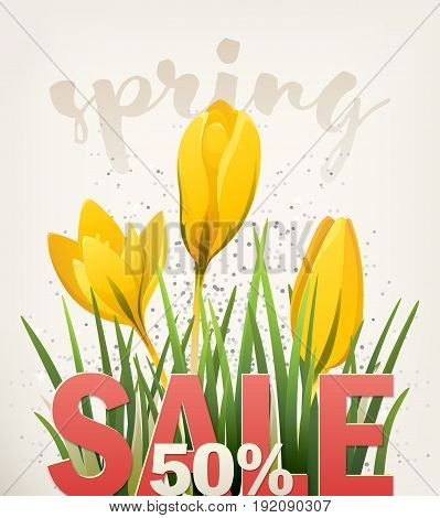 Spring banner. Big Offer Sale poster for Mothers Day, Womens Day, Spring, Summer. Banner with flowers, yellow crocus. Vector illustration EPS10 for flyer design, online shopping, advertising, magazine