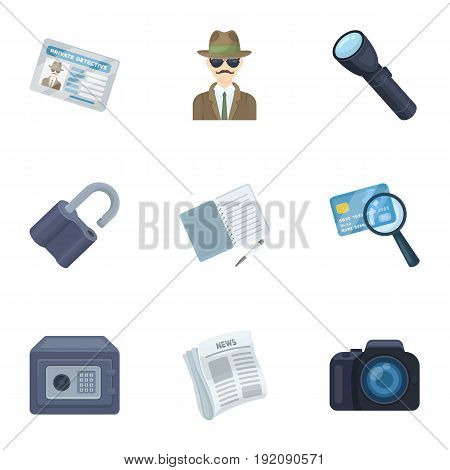 Camera, magnifier, hat, notebook with pen.Detective set collection icons in cartoon style vector symbol stock illustration .