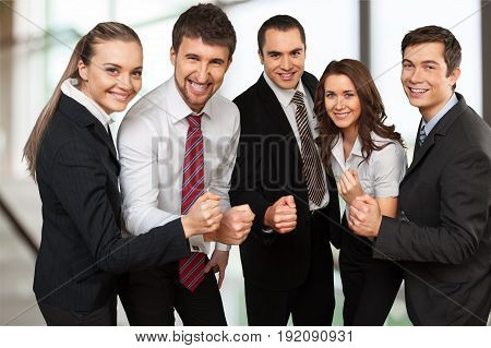 Business holding hands together team group white