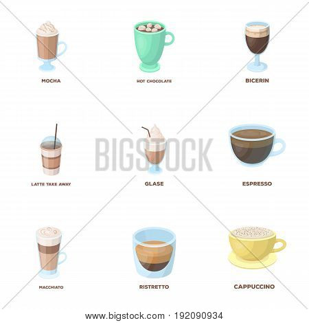 American, late, irish, cappuccino.Different types of coffee set collection icons in cartoon style vector symbol stock illustration .