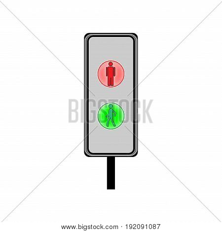Crosswalk sign. Icon traffic light on white background. Symbol regulate and warning movement pedestrian safety and car. Semaphore regulate intersection crossroads urban road. Flat vector illustration