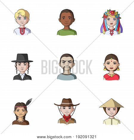 Chinese, russian, american, arab, indian, turk and other races. The human race set collection icons in cartoon style vector symbol stock illustration .