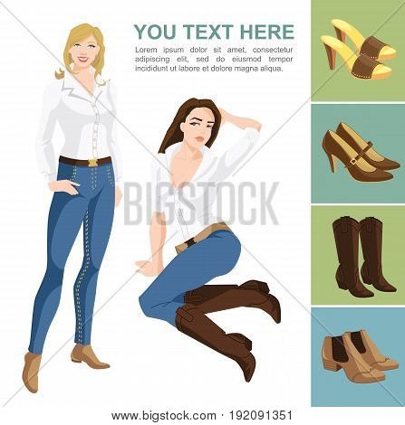 Vector illustration of young pretty women on white background. Variations models of shoes on color background