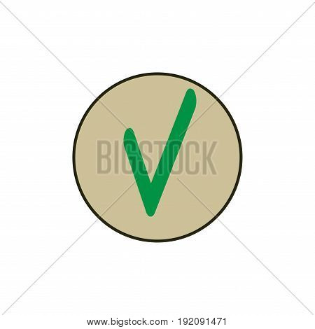 Tick green sign in beige circle. Isolated on white background. Symbol correct in green circle. Positive marks. Agree choice sticker. Flat vector image. Design element. Vector illustration