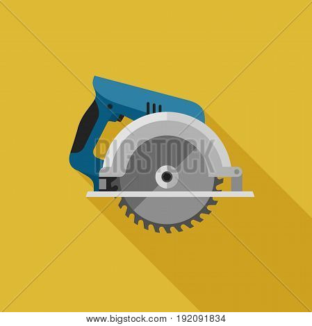 Circular saw flat icon with long shadow. Vector illustration of electric tool.