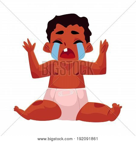 Front view portrait of cute black, African American baby, child in diaper sitting, crying hard, cartoon vector illustration isolated on white background. Crying black, African American baby in diaper