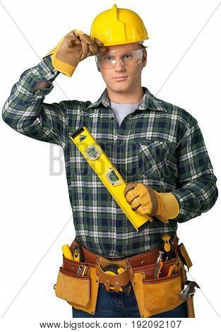 Male worker belt tool belt background business person