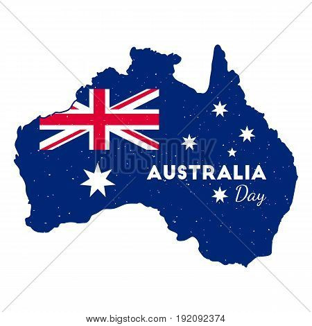 Happy Australia Day -  26 january. Poster with Australia map. Grunge rubber stamp on isolated backgrund. Vector illustration