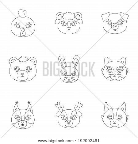 Wild and domestic animals. A set of pictures about animals.. Animal muzzle icon in set collection on outline style vector symbol stock web illustration.