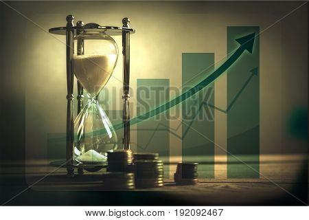 Watch sand coins money glass wealth present