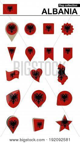 Albania Flag Collection. Big Set For Design.