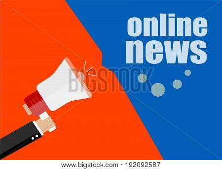 Flat Design Business Concept. Online News, Digital Marketing Business Man Holding Megaphone For Webs