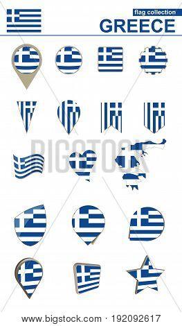 Greece Flag Collection. Big Set For Design.