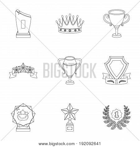 Awards, gold medals and cups as prizes in competitions and competitions. Awards and trophies icon in set collection on outline style vector symbol stock web illustration.