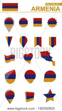 Armenia Flag Collection. Big Set For Design.
