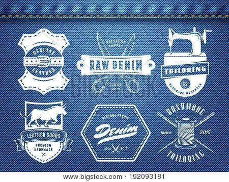 Vintage tailoring denim labels. Set of logos for tailoring, leather and denim shops. Vector retro style badges on jeans background