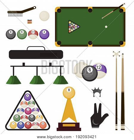 Billiard accessories icons set snooker cue sports equipment. Ball rack, billiard glove and eight ball. Billiard brush, table and burning ball illustration. Vector snooker pool game sport.