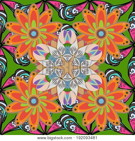 Vector Abstract Flower Background. Pretty Floral Print With Red Small Flowers. Motley Seamless Patte